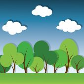 picture of applique  - vector paper applique landscape with green trees - JPG
