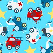 picture of sherif  - Seamless pattern of different rescue vehicles on a light blue background - JPG