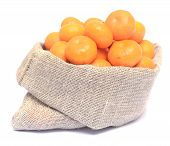 foto of cleaving  - ripe tangerines isolated on a white background - JPG