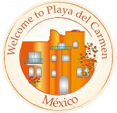 stock photo of playa del carmen  - Stamp with welcome to playa del Carmen - JPG