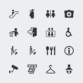 image of gents  - Vector public signs icons set on grey background - JPG