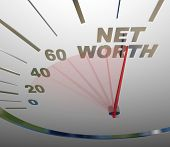 Net Worth Speedometer Rising Increasing Money Value Wealth