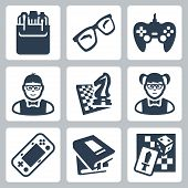 stock photo of dork  - Vector isolated nerd icons set over white - JPG