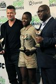 LOS ANGELES - MAR 1:  Brad Pitt, Lupita Nyong'o, Steve McQueen at the Film Independent Spirit Awards