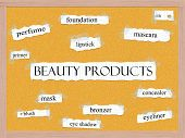 picture of pegboard  - Beauty Products Corkboard Word Concept with great terms such as mascara eyeliner mask and more - JPG