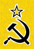 stock photo of hammer sickle  - Hammer and Sickle grunge effect set on a yellow background - JPG