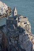 pic of promontory  - The historical church of San Pietro situated on the promontory of Portovenere facing Palmaria Island - JPG