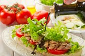 balsamic vinegar over tuna salad