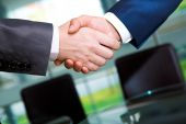 foto of business-partner  - Photo of handshake of business partners after striking deal - JPG