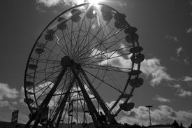 picture of ferris-wheel  - A Black and White picture of a state fair Ferris Wheel - JPG