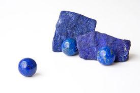 stock photo of lapis lazuli  - Rich blue Lapis Lazuli spheres and rough from afganistan - JPG