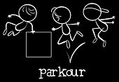 picture of parkour  - Illustration of stickmen doing parkour - JPG