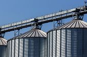 stock photo of silos  - silos for agricultural goods in a warehouse - JPG
