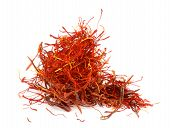 picture of saffron  - Stack of Perfect Red Dry Saffron isolated on white background - JPG