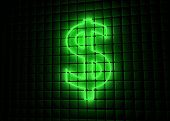 stock photo of neon green  - green neon symbol of dollar on abstract cube background - JPG
