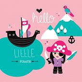 image of pirate girl  - Fun little pirate girl kids illustration background cover design baby announcement in vector - JPG