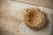 foto of bird-nest  - An empty Bird Nest on an old  tale - JPG