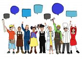 pic of cabin crew  - Multiethnic Group of Children with Jobs Concepts - JPG