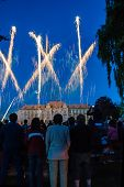 image of grammar  - Celebratory fireworks in front of grammar school in Litovel - JPG