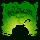 stock photo of witches cauldron  - Green Halloween background with witches cauldron illustration - JPG