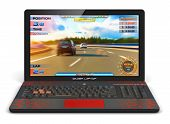 Постер, плакат: Gamer laptop with video game
