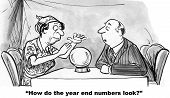 picture of year end sale  - The businessman is asking the fortune teller how the year end numbers look - JPG