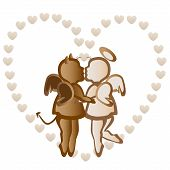 picture of angel devil  - Angel and devil kiss on the background of the heart in chocolate color - JPG