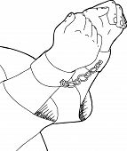 stock photo of shackles  - Outline cartoon of man in shackles over white - JPG