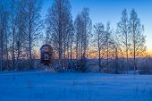picture of moonlight  - Rural winter landscape at the dawn with moonlight - JPG
