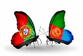 picture of eritrea  - Two butterflies with flags on wings as symbol of relations Portugal and Eritrea - JPG