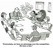 stock photo of leader  - The cartoon shows a meeting room with team members and the leader saying they have a competitive advantage because they have a lion employee - JPG