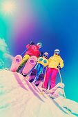 stock photo of family ski vacation  - Skiing - JPG
