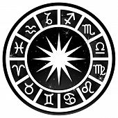 stock photo of zodiac sign  - Black and white zodiacal circle with zodiac sign - JPG
