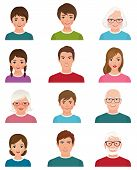 foto of avatar  - Stock vector illustration cartoon avatars of people of different ages isolated on white background - JPG