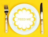 pic of eat me  - Plate with text Feed Me - JPG