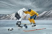 pic of ice hockey goal  - Ice hockey players in box action on the ice - JPG