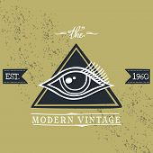 foto of illuminati  - all seeing eye of horus vintage art vector illustration - JPG