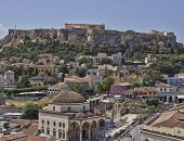 picture of akropolis  - Acropolis and Plaka famous neighborhood Athens Greece - JPG