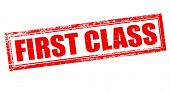foto of first class  - Stamp with text first class inside vector illustration - JPG
