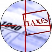 image of irs  - Detail closeup of current tax forms for IRS filing with crosshairs to destroy taxes - JPG