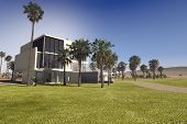 stock photo of manicured lawn  - 3D Rendering of Contemporary luxury tropical villa with a flat roof rectangular design and white walls in a large landscaped garden with palm trees and manicured lawns - JPG