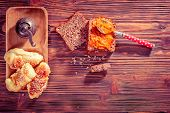picture of bread rolls  - Rolls with chees and wholemeal bread with red bell peppers relish - JPG