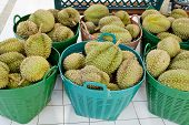 image of stinky  - Durian in green basket at Thailand - JPG