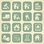 picture of moving van  - Real estate retro icon set - JPG