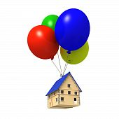 House floating with balloons