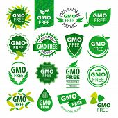 image of modification  - big set of vector icons natural products without GMOs - JPG
