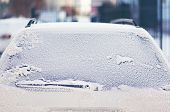 picture of car-window  - Frozen back window car in the snow - JPG