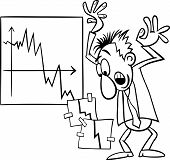 stock photo of panic  - Black and White Concept Cartoon Illustration of Economic Crisis and Panic Businessman - JPG