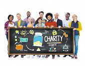 stock photo of coin bank  - Multiethnic People Banner Give Help Donate Charity Concept - JPG
