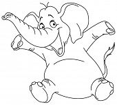 picture of elephant ear  - Outlined cheerful elephant raising his hands - JPG